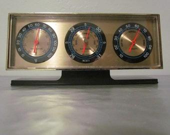 Vintage Springfield Desktop Barometer Weather Station  Thermometer Hygrometer