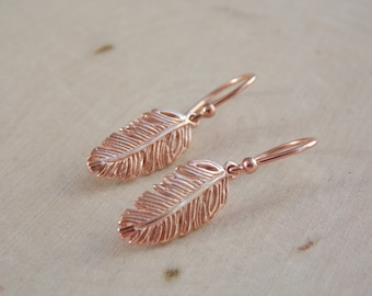 Feather Earrings / Rose Gold Feather Earrings / Tiny Feather Earrings / Rose Gold Earrings / Dangle Earrings / Boho Jewelry / Feather / Boho
