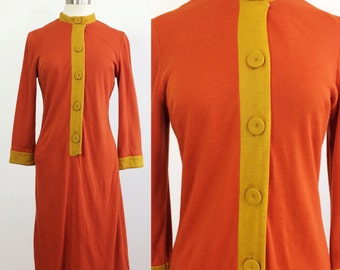 Vintage Dress Medium Large / 70s Dress / Orange Mustard Dress / Vintage Shirt Dress / Long Sleeve Dress Large