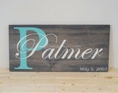 Wood Personalized Family Sign with Family Initial and Last Name/Personalized Wedding-Anniversary