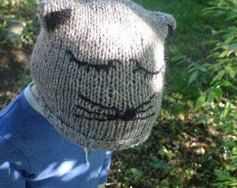 Kids animal ear hat, children's cat ear hat, children's animal beanie, gift for grandchild, grey childs hat, warm winter beanie