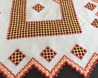 Vintage White Linen Runner w/ Red and Orange Trim