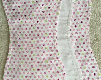 Flower print baby burp cloths, Pink/Green  burp cloths, Baby girl burp cloths