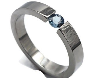 Stainless steel gem set tension ring