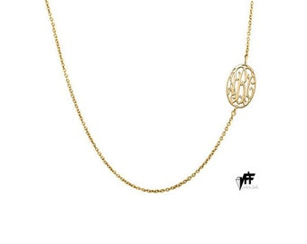 """Gold Oval Side Monogram necklace, 0.6"""" personalize oval necklace 18k gold plated 9.25"""