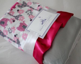 LOVIE Size - Minky Jungle Dreams Fuchsia with Satin Back, Blanket, Satin Trim, Girls, Baby, Nursery, Crib Bedding, Elephant, Zoo, Giraffe