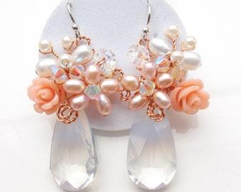 Bridal earrings - statement earrings - pearl earrings - chic bridal jewellery - women earrings - gifts for her - wedding jewellery - earring