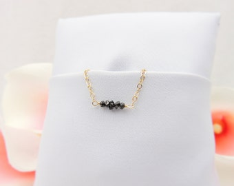 Raw Black Diamond Necklace Gold Black Diamond Chip Necklace Diamond Layering Necklace April Birthstone Necklace FREE US Shipping