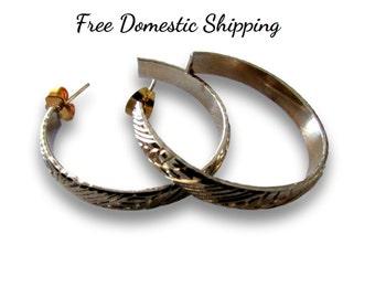 Hoop Earrings, Textured Hoop Earrings, Half Hoop Earrings, Medium Hoop Earrings, Vintage Hoop Earrings, Gold Tone Hoops, Free US Shipping