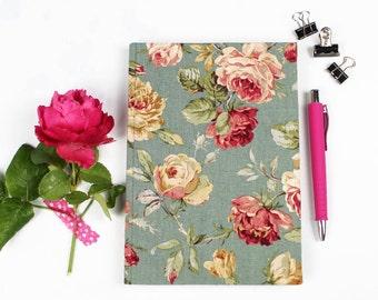 Green floral notebook, bullet journal, vintage notebook, green journal, idea book, memories, collecting, fabric-based notebook