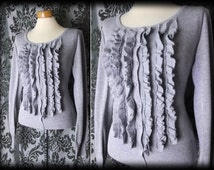 Gothic Grey Frilled Bib VICTORIAN GOVERNESS Knitted Cardigan Top 8 10 Vintage