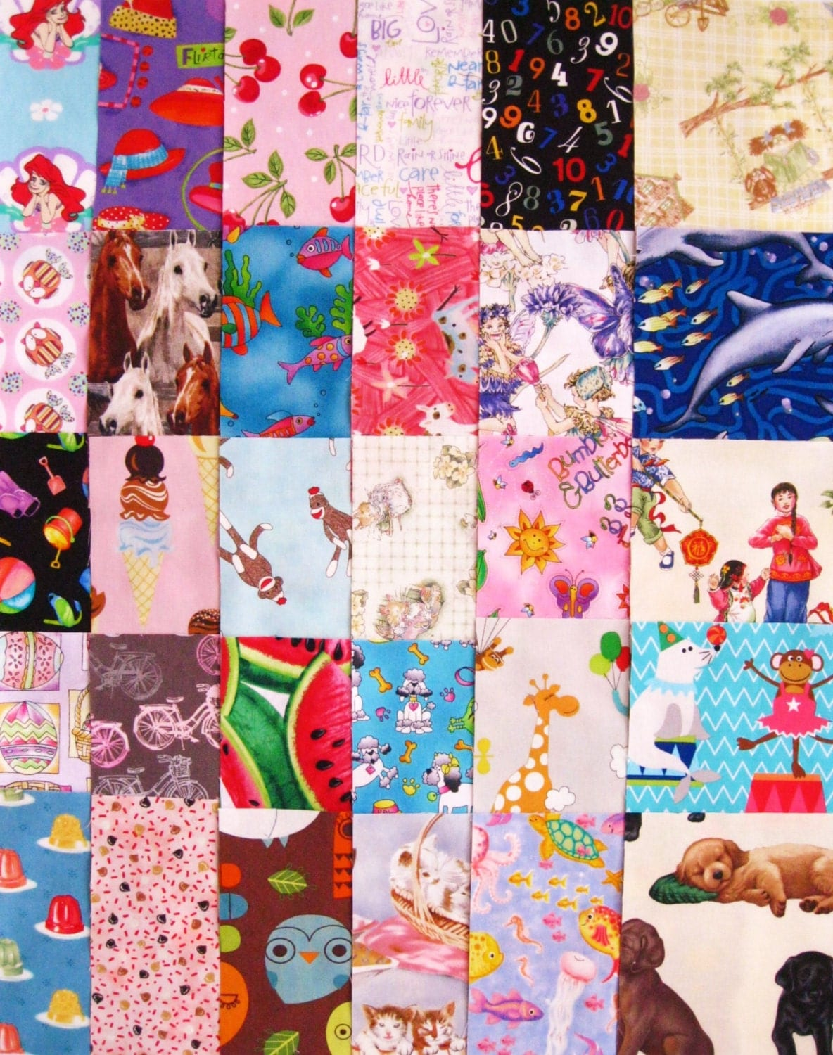 30 i spy girls 6 fabric quilt squares childrens novelty for Kids novelty fabric