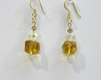 Handmade Crystal Dangle Earrings for Pierced Ears