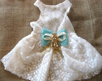 Wedding Dog Dress, Keys to My Heart, rustic wedding dress, XS S M L, bridesmaid dog dress