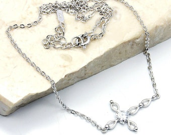 Cross Necklace, Cubic Zirconia , 925 Sterling Silver Cross Necklace W99