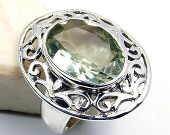 Aphrodite's Jewel' Green Amethyst & .925 Sterling Silver Ring Size 6.25 ,  S512