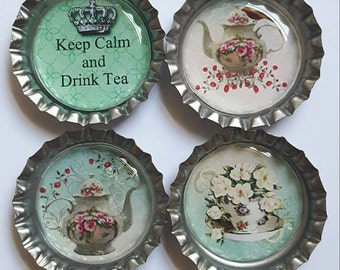 Keep Calm and Drink Tea Magnets tea cup magnet teapot maget Set of Four