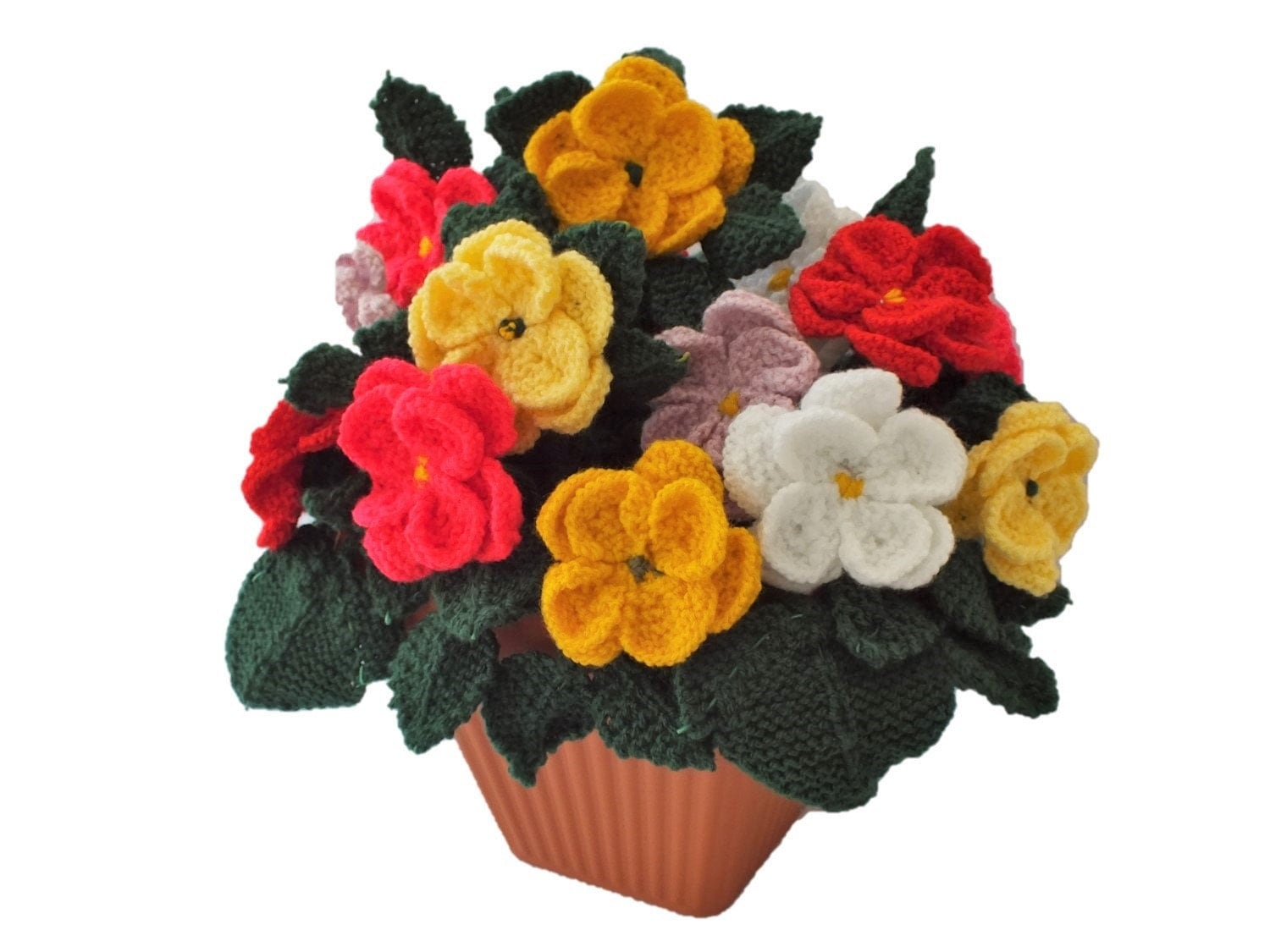 Pot of knitted dahlias knitting pattern for dahlias knitted this is a digital file bankloansurffo Images