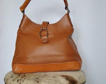 Vintage LEATHER HANDBAG , brown leather bag ....(190)