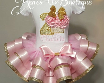 Cupcake Birthday Ribbon Tutu Set | Birthday Outfit | Pink and Gold
