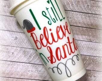 I still believe in Santa travel mug, Santa travel cup, Christmas cup, Christmas mug, Coffee travel cup, Santa cup