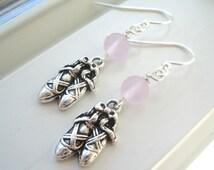 Ballet Earrings - Ballet Jewelry - Ballet Shoe Earrings - Silver Charm Earrings - Pink Dangle Earrings - Dance Earrings - Dance Jewelry