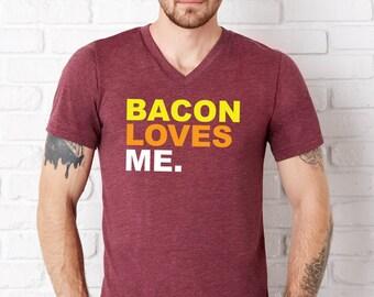 Bacon Loves Me Maroon V-Neck T-Shirt