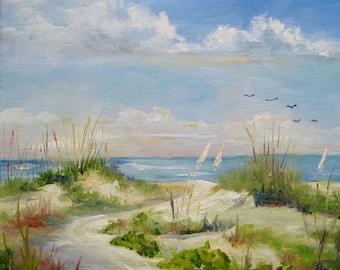 """Oil painting beach sailboats dunes ocean original seascape  12x12"""" unframed.  Nancy Casey"""