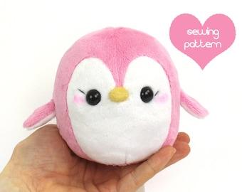 """PDF Plush penguin sewing pattern - easy kawaii plushie DIY stuffed animal 4.5"""""""