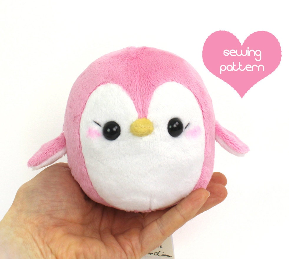 Pdf sewing pattern penguin stuffed animal easy kawaii cute for Sewing templates for stuffed animals