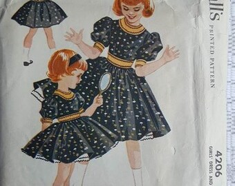 Vintage Girls Dress and Petticoat McCalls 4206 Pattern Size 7