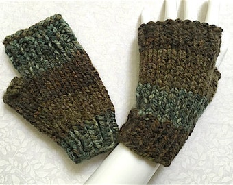 Knit Fingerless Gloves, Short Crop-Cuff Fingerless Gloves, Fingerless Mitts, Wrist Warmers, Dark Forest Brown & Green, Bulky-Chunky Knit