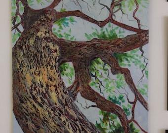 "Reaching Upward - 20"" x 24""  Original Unframed Acrylic Painting on textured canvas"