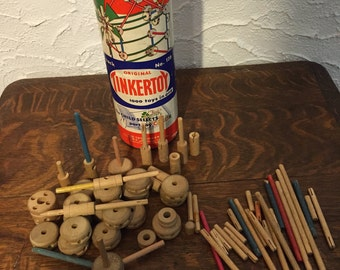 Vintage 1950s Tinker Toy Container With Building Parts