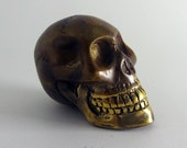 Large Human Skull Bead figure sculpture brass pendant 89g Indonesia