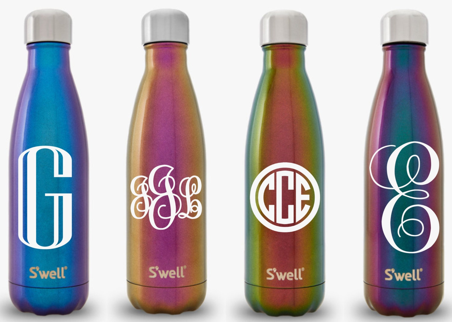 S39well water bottle with personalized custom monogram for Custom bottled water bottles