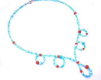 BIG SALE orange turquoise summer necklace, orange small glass beads, turquoise bleu white tiny Czech Preciosa beads, stainless steel