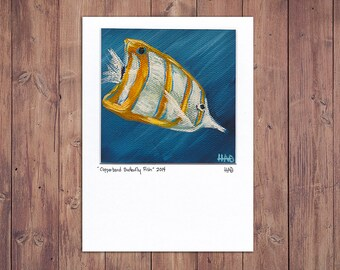 Fish Art from Original Painting, Matted 5x7 Print
