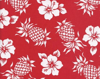 TROPICAL FABRIC: Pineapples & Hibiscus in Red (By the Yard)