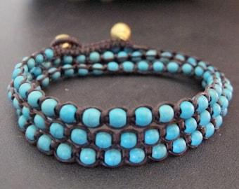 Wrap Bracelet- Turquoise Beaded Woven Three Time Wrapped Bracelet