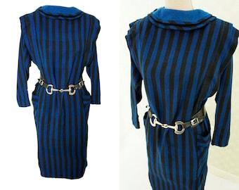 80s clothing 80s vintage dress. Urban style. Vertical stripes. Wool dress. Peter pan collar.