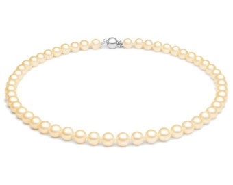 Peach Freshwater Pearl Necklace - 18 inch Necklace -  7-7.5mm - Pearl Necklace - Necklace - Peach Pearl Necklace
