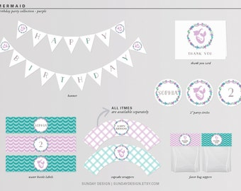Mermaid Birthday Party Package - DIY Printable Party Package