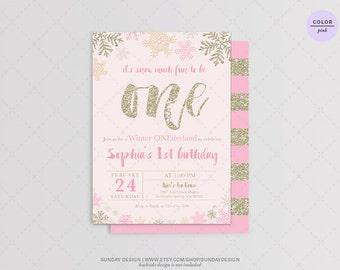 Snow Much Birthday Invitation Card - DIY Printable Digital File - Winter Birthday Invitation