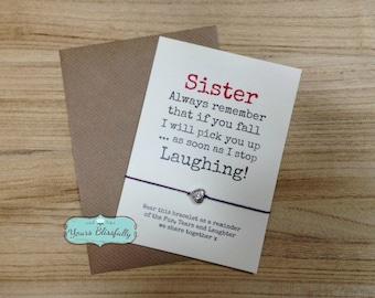 Sister Friendship Bracelet, Sister Gift, Sister Bracelet, Sister Card, Sister Birthday, Funny Sister Gift, Funny Sister Card