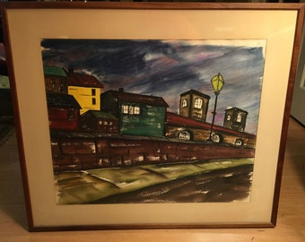 Vintage original signed watercolor of New York street scene at dusk in the 1960s