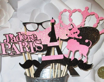 Paris Party Photo Booth Props-made with Glitter Paper, Great for Mustache Party, Bridal Shower, Wedding Shower, Baby Shower, Parisian Party