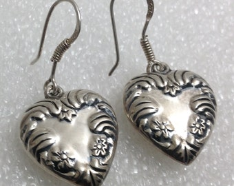 Vintage sterling dangle heart earrings.