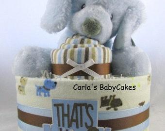 Boy diaper cake | Baby diaper cake | Baby shower gift | Unique baby gift | New mom gift | Baby shower decor | Receiving blanket cupcake