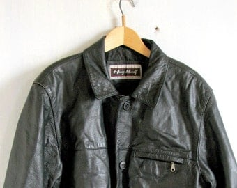 Vintage leather jacket mens black leather jacket hipster jacket hipster coat goth jacket